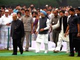 Former President Pranab Mukherjee, Former Prime Minister Manmohan Singh and Congress Vice President Rahul Gandhi during a programme organised to pay tribute to Former Prime Minister Indira ...
