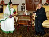 Former president Pratibha Patil calls on President Pranab Mukherjee  at Rashtrapati Bhawan in in New Delhi, on Aug 11, 2015.