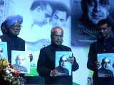 Former Prime Minister Manmohan Singh and Former President Pranab Mukherjee during the launch of M.S. Sanjeevi Rao's book 'A Contribution in Time - India's Electronics revolution' in New ...