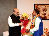 Former Trinamool Congress leader Mukul Roy calls on BJP chief Amit Shah after joining the party in New Delhi, on Nov 3, 2017.
