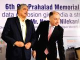 Former Unique Identification Authority of India (UIDAI) Chairman Nandan Nilekani along with Forbes Marshal Director Naushad Forbes during the 6th CK Prahalad Memorial Lecture 2017 ...