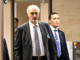 GENEVA, Dec. 12, 2017 - Bashar al-Jaafari, Syrian Ambassador to the United Nations and head of the government delegation, arrives for a meeting with UN Special Envoy for Syria Staffan de Mistura (not ...