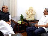 Goa Chief Minister Manohar Parrikar calls on Union Home Minister Rajnath Singh in New Delhi on Nov 2, 2017.