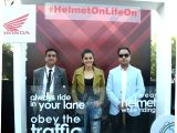 Greater Noida: Actress Taapsee Pannu launches #HelmetOnLifeOn Honda 2Wheelers India's Road Safety campaign at the Auto Expo 2018 in Greater Noida, Uttar Pradesh on Feb 10, 2018.