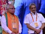 Haryana Chief Minister Manohar Lal Khattar with Goa Chief Minister Manohar Parrikar at the BJP national executive meeting in New Delhi on Sept 25, 2017.