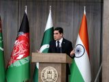 HERAT (AFGHANISTAN), Feb. 23, 2018 President of Turkmenistan Kurbanguly Berdymukhamedov delivers a speech during the inauguration ceremony of TAPI pipeline construction work, in Herat, ...