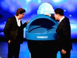 Hyundai Corporate Brand Ambassador Shah Rukh Khan and Hyundai Motor India Ltd MD and CEO Y K Koo unveil 'Swachh Can', a portable bin for all Hyundai Cars at the Auto Expo 2018 in New ...