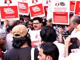 Indian Films and TV Directors Association (IFTDA) members participate in a rally to show soliodarity with filmmaker Sanjay Leela Bhansali in Mumbai on Nov 26, 2017. Bhansalis upcoming film ...