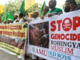 Indian Uinon Muslim League (IUML) and Aligarh Muslim University Old Boys Association activists stage a protest march towards Myanmar Embassy in support of Rohingya muslims in New Delhi on ...
