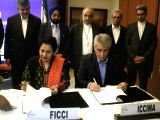 Iran's Finance and Economic Affairs Minister Masoud Karbasian addressing a gathering at FICCI in New Delhi on Feb. 17, 2018.