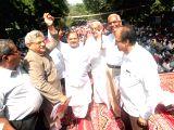 Janata Dal-United (JD-U) rebel leader Sharad Yadav, CPI(M) Secretary Sitaram Yechuri, CPI general secretary D Raja and TDP MP J C Diwakar Reddy during a nationwide strike called by the ...