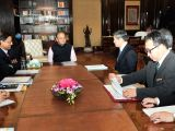 Japan International Cooperation Agency (JICA) President Shinichi Kitaoka calls on Union Minister for Finance and Corporate Affairs Arun Jaitley, in New Delhi on Feb 23, 2018. Also seen ...