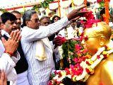 Karnataka Chief Minister Siddaramaiah pays tribute to Dr. B R Ambedkar on his 61st death anniversary at Vidhana Soudha in Bengaluru on Dec 6, 2017.