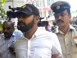 Karnataka Congress legislator N.A. Haris' son and expelled state Youth Congress leader Mohammed Nalapad who surrendered at Cubbon Park police station in Bengaluru on Feb 19, 2018. A case ...