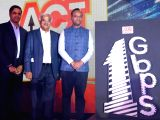 Karnataka IT, BT Minister Priyank Kharge, Atria Convergence Technologies Founder and MD Sunder Raju and CEO Bala Malladi during a press conference to launch an internet service in ...