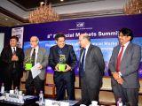 (L-R) Bombay Stock Exchange MD and CEO Ashishkumar Chauhan, Reserve Bank of India Executive Director Rajeshwar Rao, Securities and Exchange Board of India (SEBI) Chairman Ajay Tyagi, ...