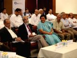 (L to R) Jurist-educator N R Madhava Menon, Supreme Court Justice Madan B Lokur, Delhi High Court Justice Geeta Mittal and Manupatra Information Solutions Private Limited CEO and Founder ...