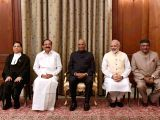 (L to R) Justice Dipak Misra, Vice President M. Venkaiah Naidu, President Ram Nath Kovind, Prime Minister Narendra Modi and Union Law Minister Ravi Shankar Prasad during ...