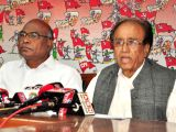 (L to R) Telangana CPI secretary Chada Venkat Reddy and CPI General Secretary Suravaram Sudhakar Reddy addresses a press conference in Hyderabad on Jan 19, 2018.