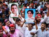 : Lucknow: Samajwadi Party (SP) and Bahujan Samaj Party (BSP) workers celebrate, outside SP office in Lucknow on March 14, 2018. SP on Wednesday took winning leads in both the Lok Sabha seats of ...