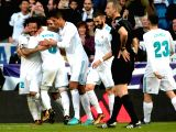 MADRID, Jan. 22, 2018 - Real Madrids players celebrate after a Spanish league match between Real Madrid and Deportivo de la Coruna in Madrid, Spain, on Jan. 21, 2018. Real Madrid won 7-1.