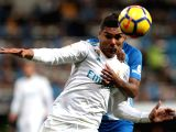 MADRID, Nov. 26, 2017 - Real Madrids Casemiro (Front) competes during a Spanish league soccer match between Real Madrid and Malaga in Madrid, Spain, Nov. 25, 2017. Real Madrid won 3-2.
