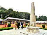 Maharashtra Chief Minister Devendra Fadnavis pays tribute to martyrs on Police Commemoration Day at Naigaon Police Ground in Mumbai on Oct 21, 2017. Also seen Mumbai Police Commissioner ...