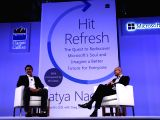 Microsoft CEO Satya Nadella during the launch of his book Hit Refresh in New Delhi on Nov 7, 2017. Also seen former India cricketer Anil Kumble.