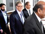 Microsoft founder Bill Gates arrives to meet Uttar Pradesh Chief Minister Yogi Adityanath in Lucknow, on Nov 17, 2017. (Photo: IANS)