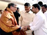 Microsoft founder Bill Gates being welcomed by Andhra Pradesh Chief Minister N Chandrababu Naidu on his arrival at Visakhapatnam Airport in Visakhapatnam on Nov 17, 2017.