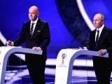 MOSCOW, Dec. 2, 2017 - FIFA President Gianni Infantino (L) and Russian President Vladimir Putin attend the Final Draw of the FIFA World Cup 2018 at the State Kremlin Palace in Moscow, capital of ...