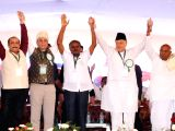 National Conference President Farooq Abdullah with Janata Dal (Secular) leaders H.D. Deve Gowda and HD Kumaraswamy during a state-level minorities convention in Tumkur, Karnataka on Dec 10, ...