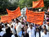 New Delh: Bhartiya Mazdoor Sangh members participate in a rally against the anti-labour policies of BJP-led government in New Delhi on Nov 17, 2017.