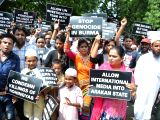 :New Delhi: Immigrant Rohingya Muslims stage a demonstration at the Jantar Mantar against persecution of the community in Myanmar and demanded that the Indian government must intervene to save ...