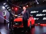 :New Delhi: Maruti Suzuki MD & CEO Kenichi Ayukawa and Sr. Executive Director, Marketing & Sales RS Kalsi Maruti Suzuki at launch of the third generation Swift at the Auto Expo 2018 in New Delhi on ...