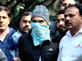 :New Delhi: Police present before press Abdul Subhan Qureshi, the Indian Mujahideen operative, termed