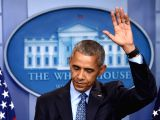 NEW YORK, Dec. 27, 2017 - Barack Obama gestures during his final press conference as U.S. President at the White House in Washington D.C., the United States, Jan. 18, 2017.