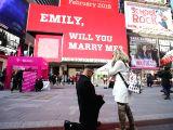 NEW YORK, Feb. 14, 2018 - Joseph Lodato (L) proposes to Emily Gambarella during the