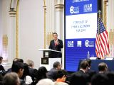 NEW YORK, Jan. 9, 2018 - Former World Bank chief economist Justin Lin Yifu delivers a keynote speech during the