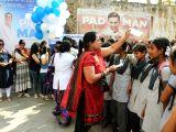 NGO pratibha volunteers distribute free sanitary pads and showed Akshay Kumar's film 'PadMan' to 1000 school students in Nagpur on Feb 9, 2018.