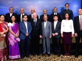 Nobel Laureate Professor KIP S Thorne, Infosys co-founder NR Narayana Murthy, Co-Founder K Dinesh and newly appointed Infosys CEO Salil Parekh with Science Foundation Awardees during the ...