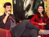 Noida: Mannara and Karanvir Sharma during a press meet