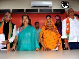 NPP MLAs Kirodilal Meena and his wife Golma Devi join BJP in the presence of Rajasthan Chief Minister Vasundhara Raje and state BJP President Ashok Parnami as NPP merged with the BJP, at the ...