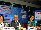 NSE Managing Director and CEO Chitra Ramkrishna, SBI Chairman Arundhati Bhattacharya, Software Technology Parks of India Director General Omkar Rai and TRAI Chairman RS Sharma during INFOCOM ...