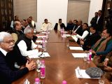 Opposition parties of Uttar Pradesh, lead by Samajwadi Party chief Akhilesh Yadav during a meeting on Electronic Voting Machines in Lucknow on Jan. 6, 2018.
