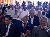 Outgoing Chief Justice of India Justice Jagdish Singh Khehar along with CJI-designate Justice Dipak Misra during a farewell function by Supreme Court Bar Council of India at Supreme Court ...