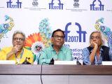 Panaji :IFFI 2017  - Ranjit Kapoor, Satish Kaushik,  Sudhir Mishra - Press conference