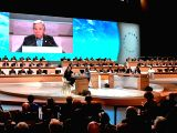 PARIS, Dec. 12, 2017 - United Nations Secretary-General Antonio Guterres addresses the plenary meeting of the One Planet Summit in Paris, France, on Dec. 12, 2017. Political leaders and ...