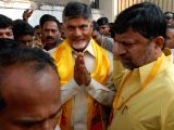 Party workers extend warm welcome to Andhra Pradesh Chief Minister and Telugu Desam Party (TDP) President N. Chandrababu Naidu during his visit to the party office in Hyderabad on Nov 2, ...