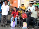 Passengers stranded at Satellite Bus Stand after Tamil Nadu bound buses were cancelled in the wake of Supreme Court's verdict on Cauvery water sharing between Karnataka and Tamil Nadu, in ...